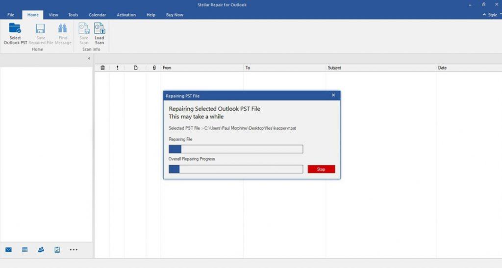 Start pst file repair process