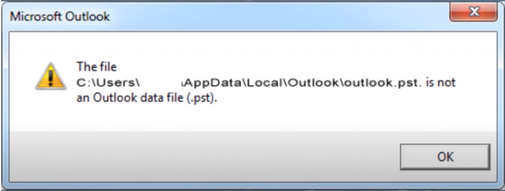 Outlook Error: The file c:\....\xxx.pst is not an Outlook data file (.pst)
