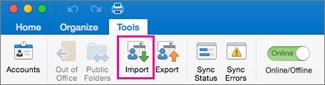 Mac outlook import option