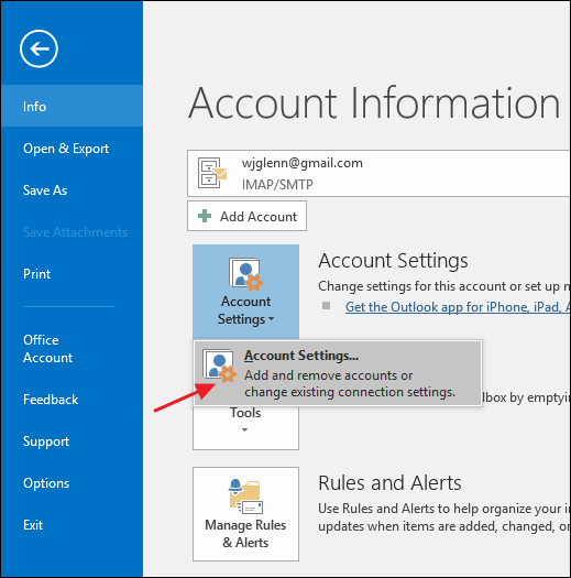 Go to File>Info>Account Settings and click Account Settings