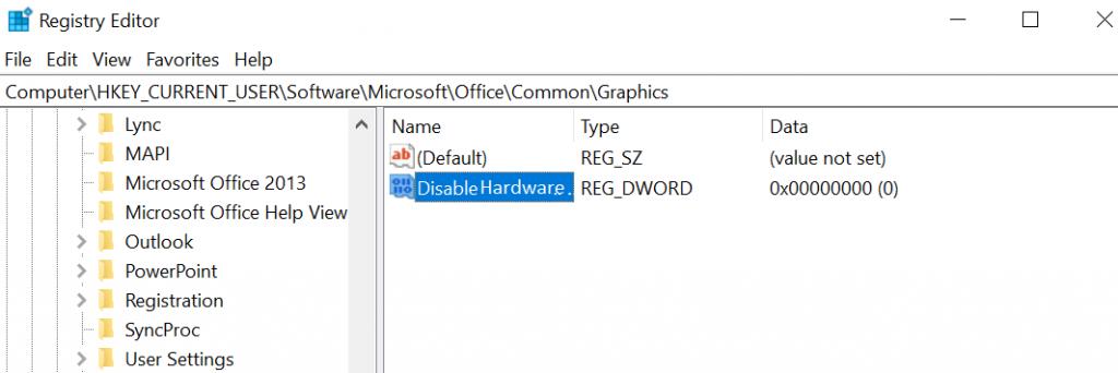 Double click on DisableHardwareAcceleration