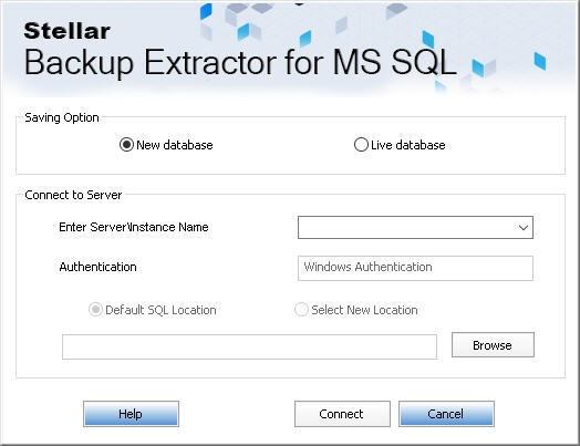 Options for saving sql backup file