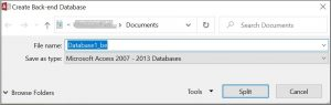Create access back-end database