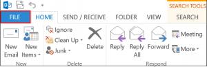 Outlook file menu