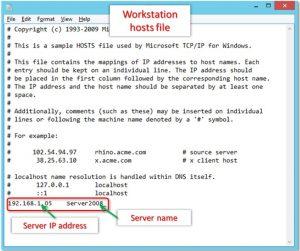 Add server details in workstation hosts file