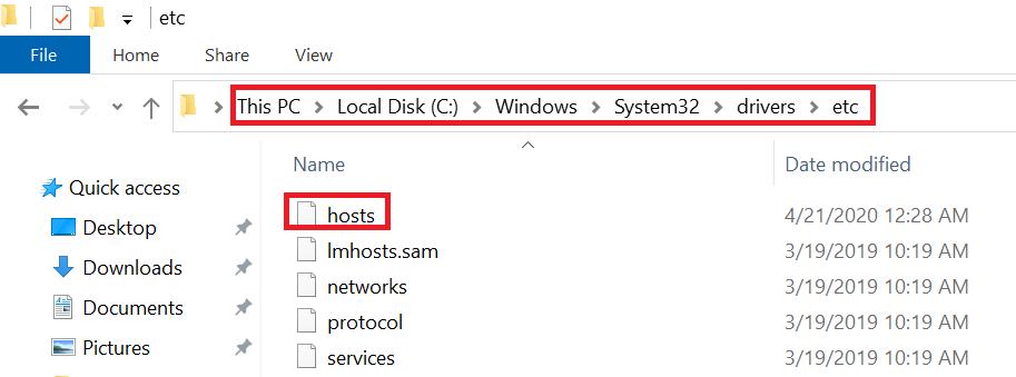 Windows hosts file path