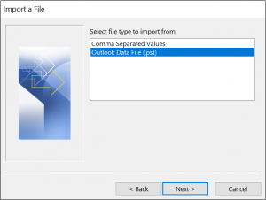 Import Outlook pst data file
