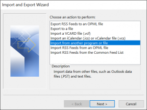 Import from another program or file option in Outlook