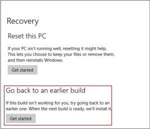 Revert to Windows 10 previous build