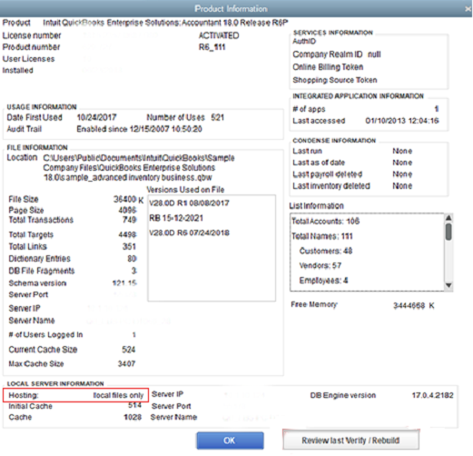 QuickBooks product information screen with hosting set to local files only