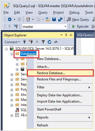 Select Restore Database Option