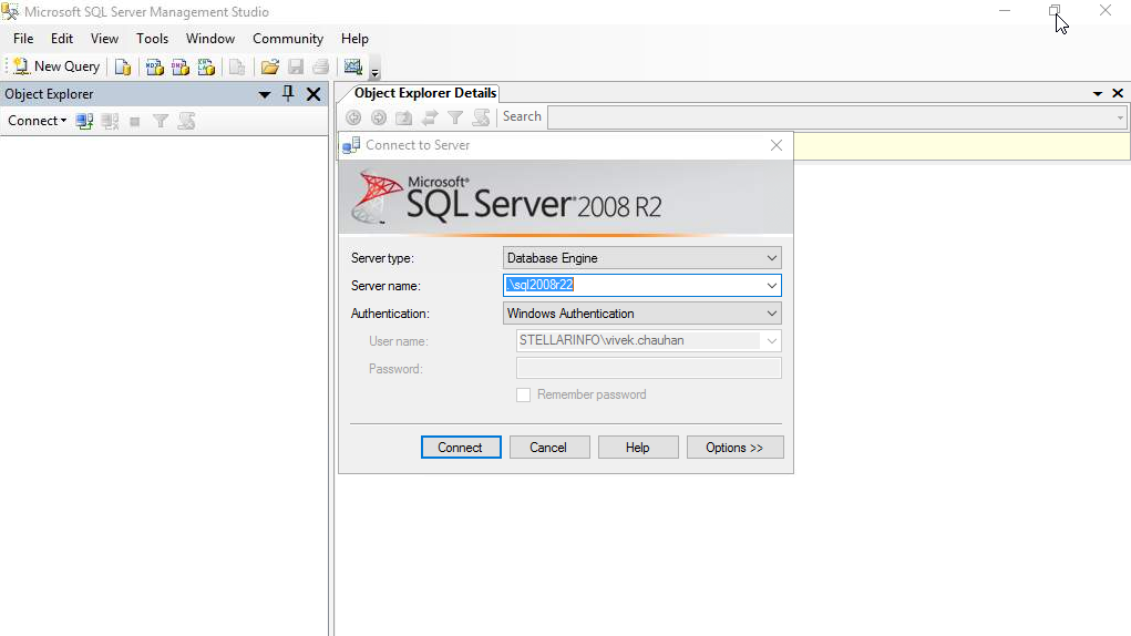 Connect to SQL Server Database in SSMS