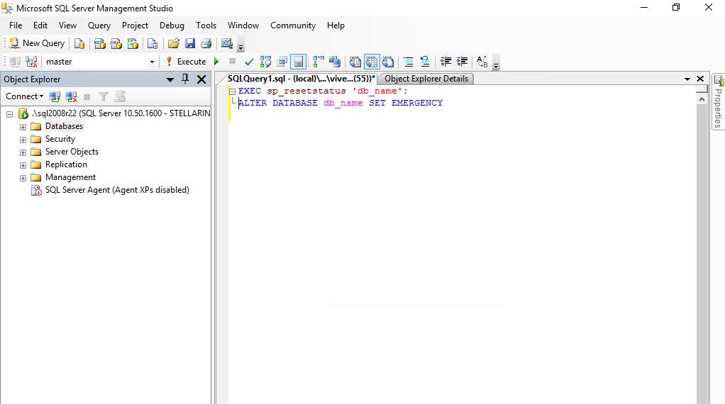 Set SQL Database in Emergency Mode