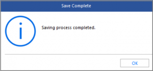 Saving process completed message