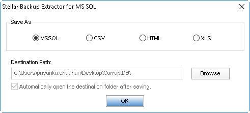 SQL backup file saving formats