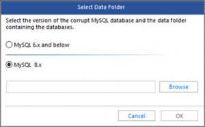 Select MySQL server version in Select Data Folder window