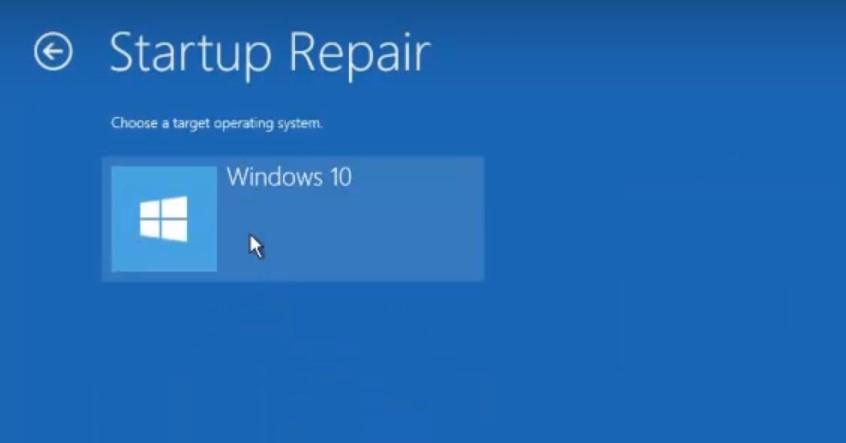 نافذة إصلاح بدء التشغيل
