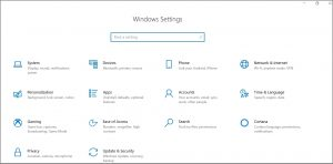 Select Update & Security in windows settings