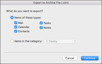 Export to Archive OLM File