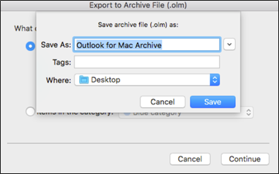 Save Archive OLM File