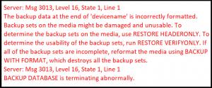 SQL Server error message 3013