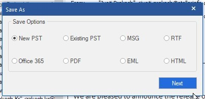 Browse save location to save PST file