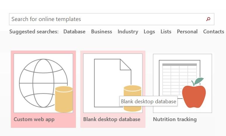 blank desktop database in access