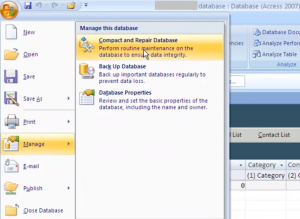 Compact and Repair Access 2007 database