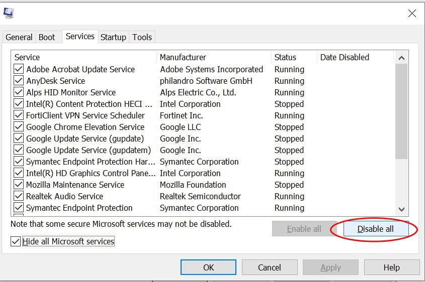 قم بتعطيل كافة خدمات Microsoft تحت علامة تبويب الخدمات