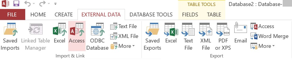 external data option in access database