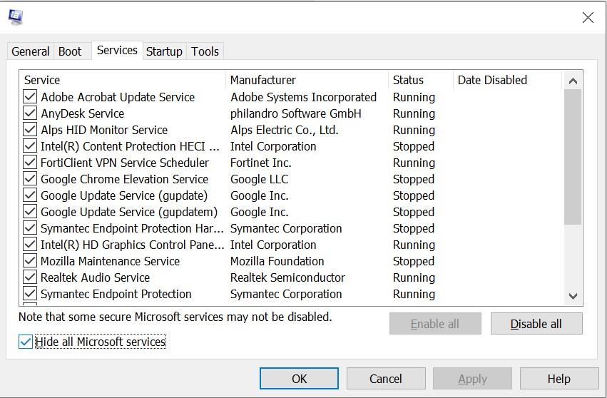"""حدد """"إخفاء جميع خدمات Microsoft"""" ضمن علامة التبويب """"الخدمات"""""""