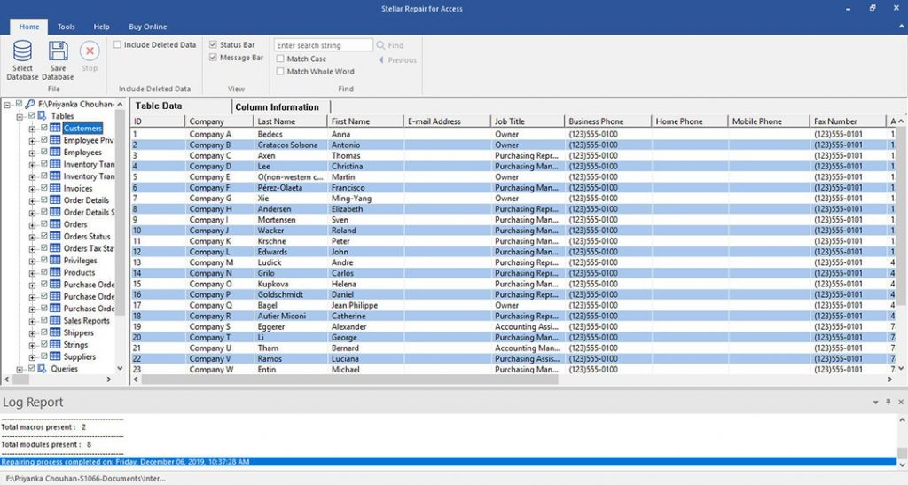 Preview repaired Access database file