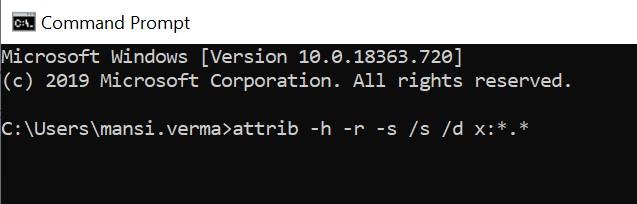 Run attrib -h -r -s /s /d x:*.* command