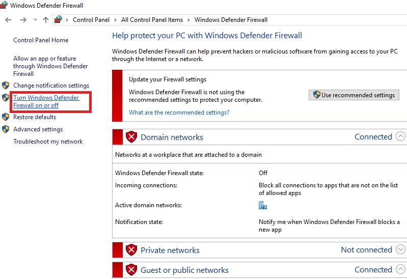 """اختر """"Turn Windows تشغيل أو إيقاف تشغيل جدار حماية المدافع """""""