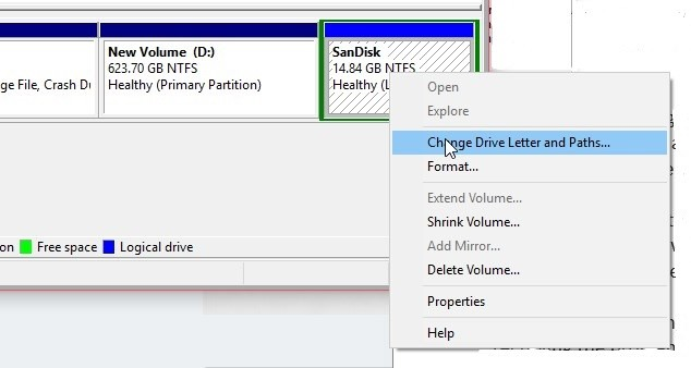 """Right-click on the drive and choose """"Change Drive Letter and Paths..."""""""