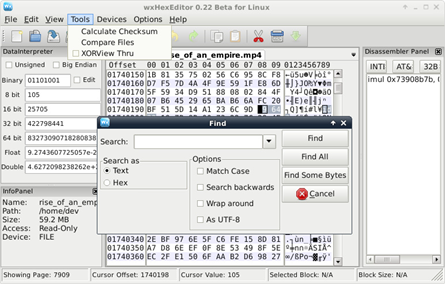 Hex Editor interface on Linux repair CR3 file