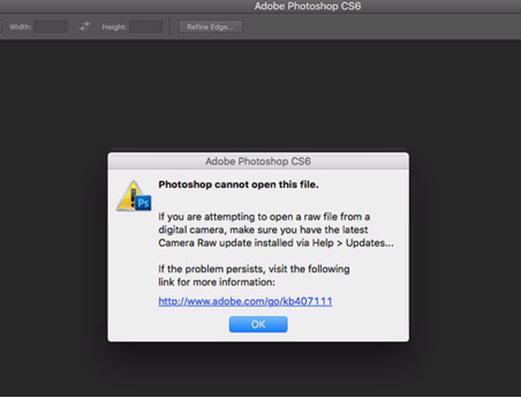 خطأ Photoshop لا يمكن فتح ملف CR3