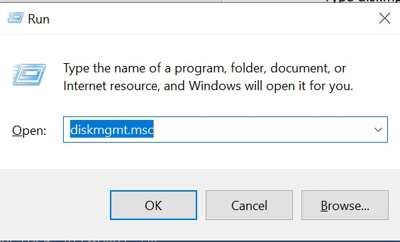 """Type """"diskmgmt.msc"""" in Run window  and open Disk Management"""