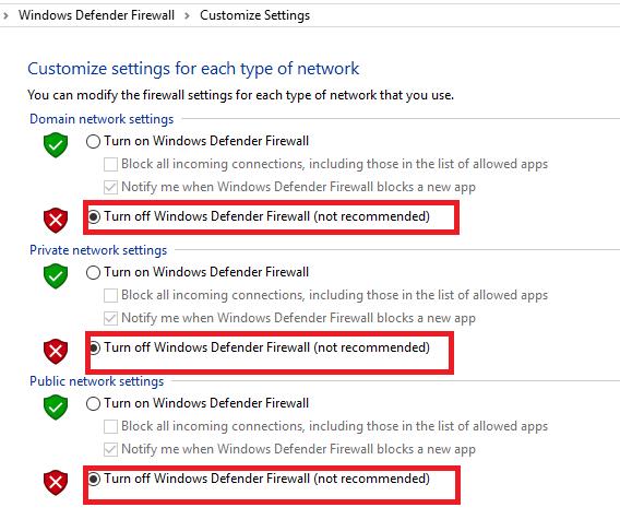 """حدد """"إيقاف التشغيل"""" Windows جدار حماية Defender (غير مستحسن) ضمن النطاق ، وإعدادات الشبكة الخاصة والعامة"""
