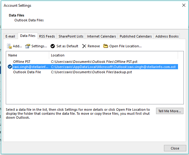 Find location of OST of file
