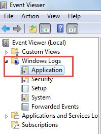 Go to Event Viewer window>expand Windows Logs>Application