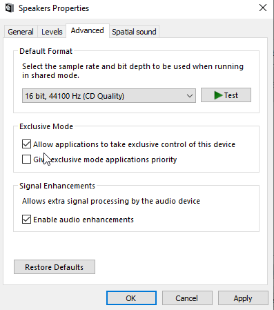 Disable audio enhancements in Advanced tab
