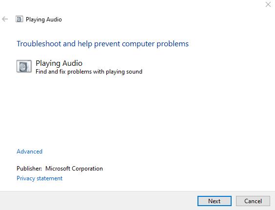 Playing Audio screen in Windows 10