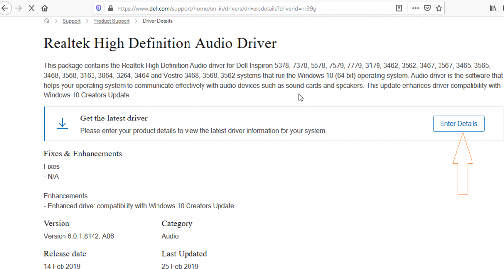 Audio driver update for Dell laptops