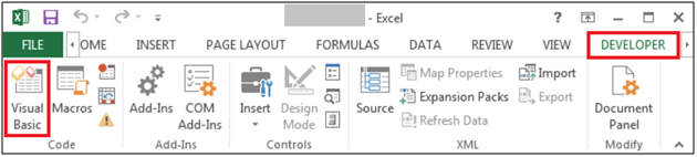excel developer option