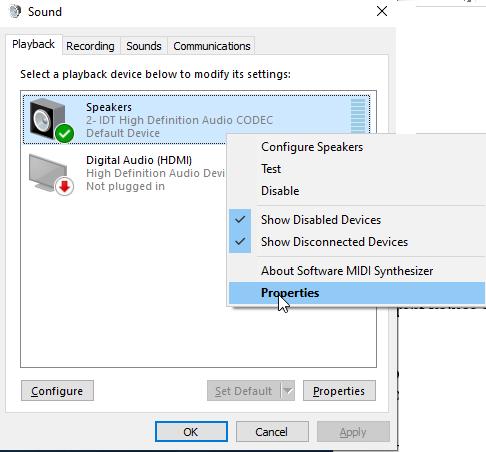 Figure: Sound screen under Control Panel