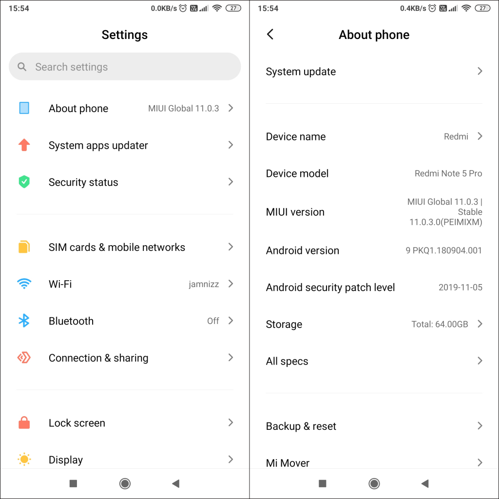 Navigate to System update from Android Settings