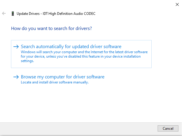 Choose automatic driver update in Windows 10