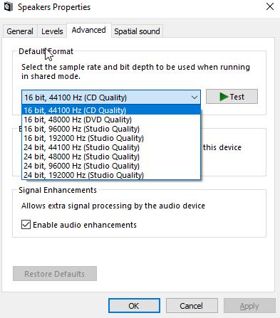 Figure: Default audio formats in Windows 10