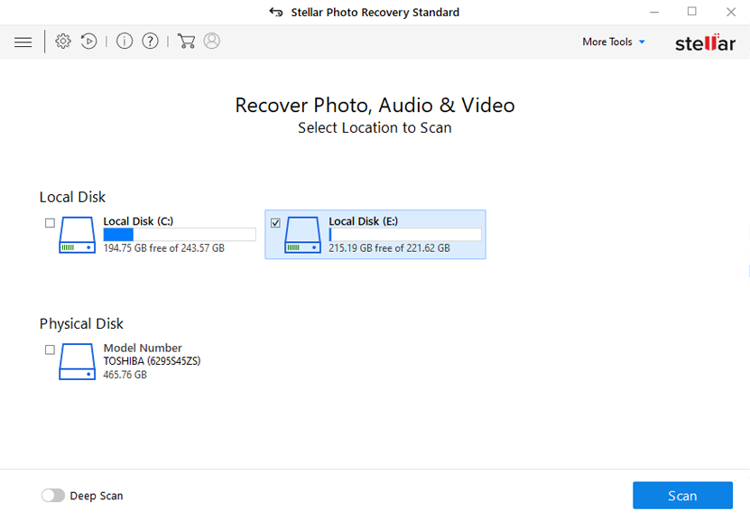 Stellar photo recovery select USB drive screen1
